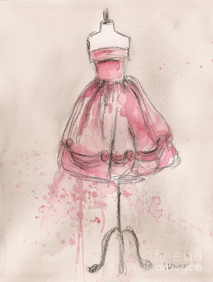 Vintage Painting - Pink Party Dress by Lauren Maurer