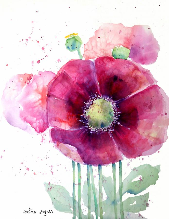 Poppy Painting - Pink Poppies by Arline Wagner