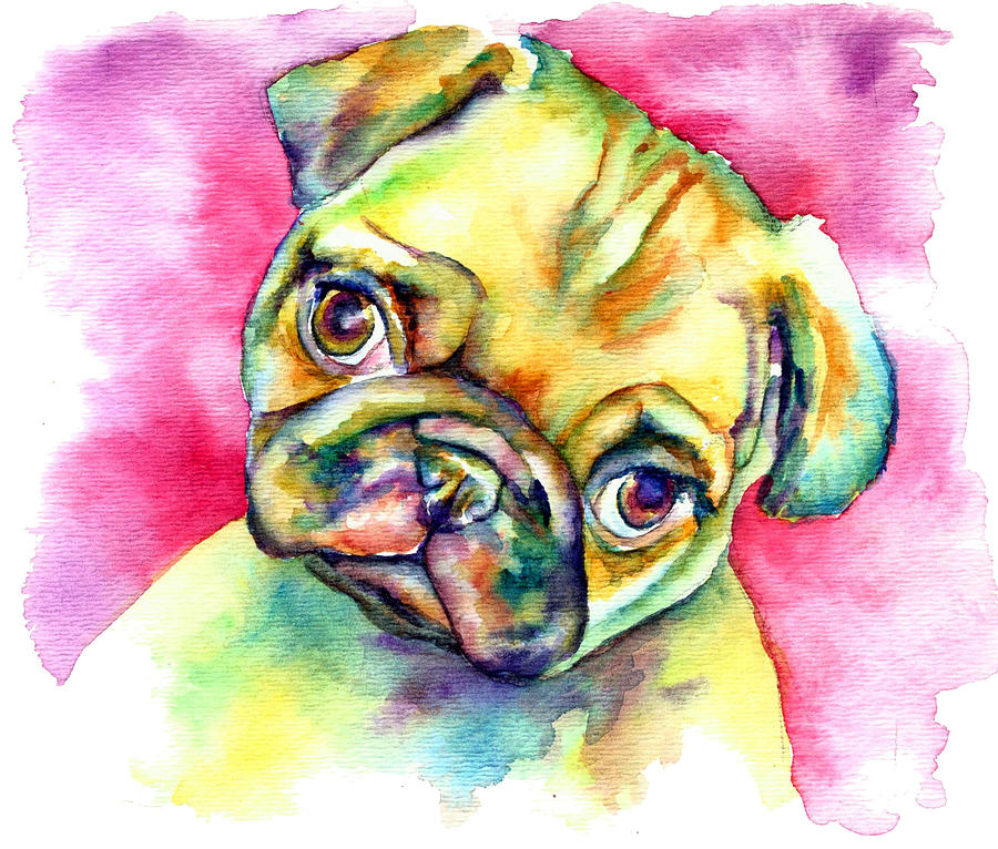 Pink Pug Painting - Pink Pug by Christy  Freeman