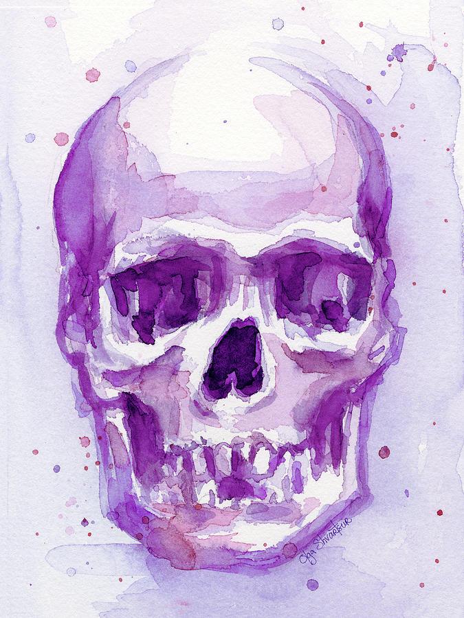 Pink Purple Skull Painting By Olga Shvartsur