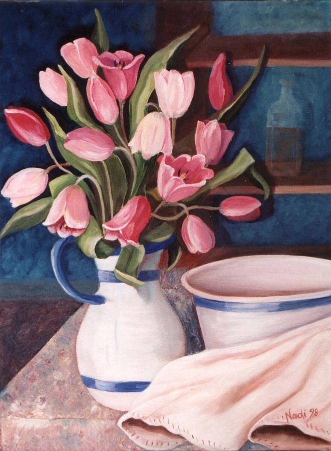 Pink Tulips Painting - Pink Tulips by Renate Nadi Wesley
