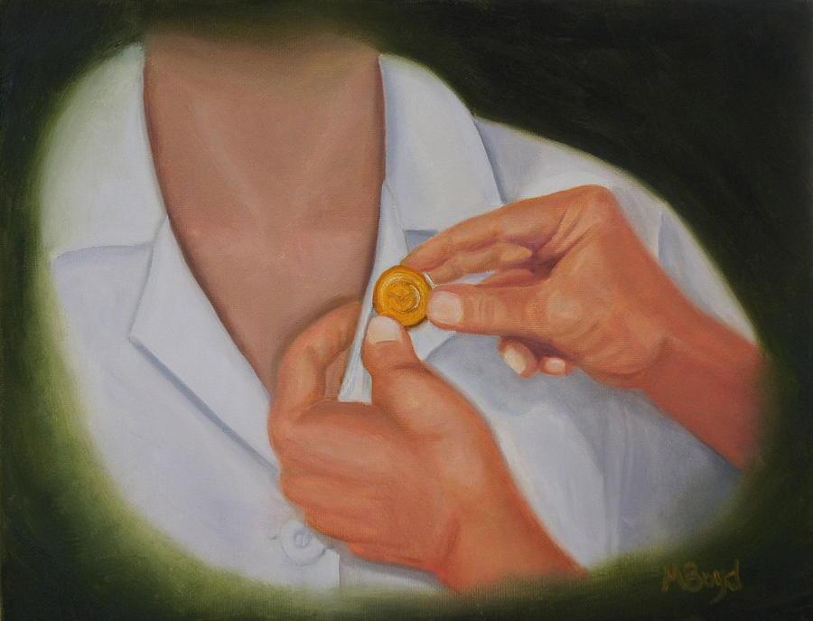 Nursing Graduation Painting - Pinning A Tradition Of Nursing by Marlyn Boyd