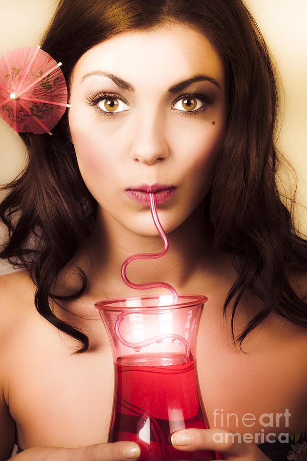 Pinup Poster Girl Drinking At Retro Cocktail Party Photograph