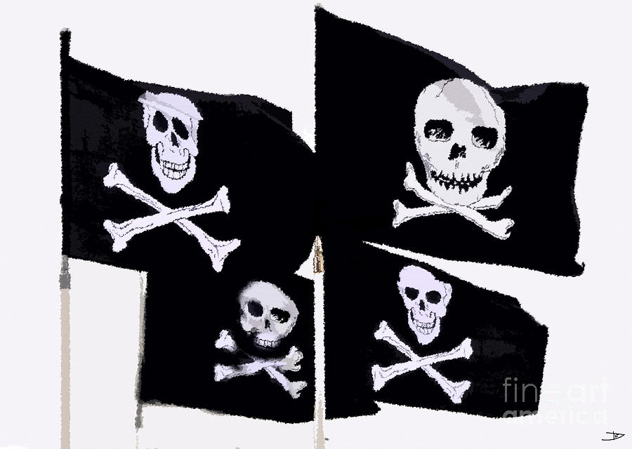 Pirate Flags Painting - Pirate Flags by David Lee Thompson