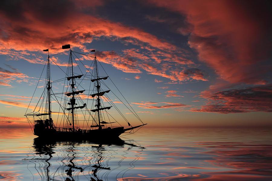 Pirate Ship At Sunset Photograph