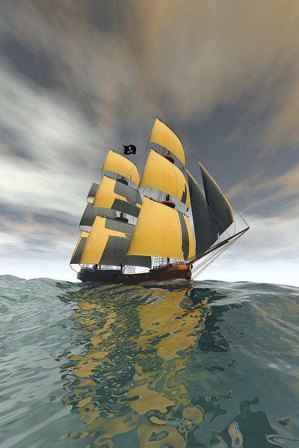 Pirate Digital Art - Pirate Ship On The High Seas by Carol and Mike Werner