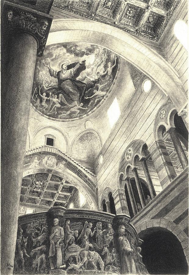 Pisa Drawing - Pisa Duomo by Norman Bean