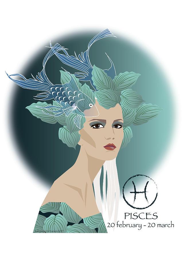 Girl Drawing - Pisces by Johanna Virtanen