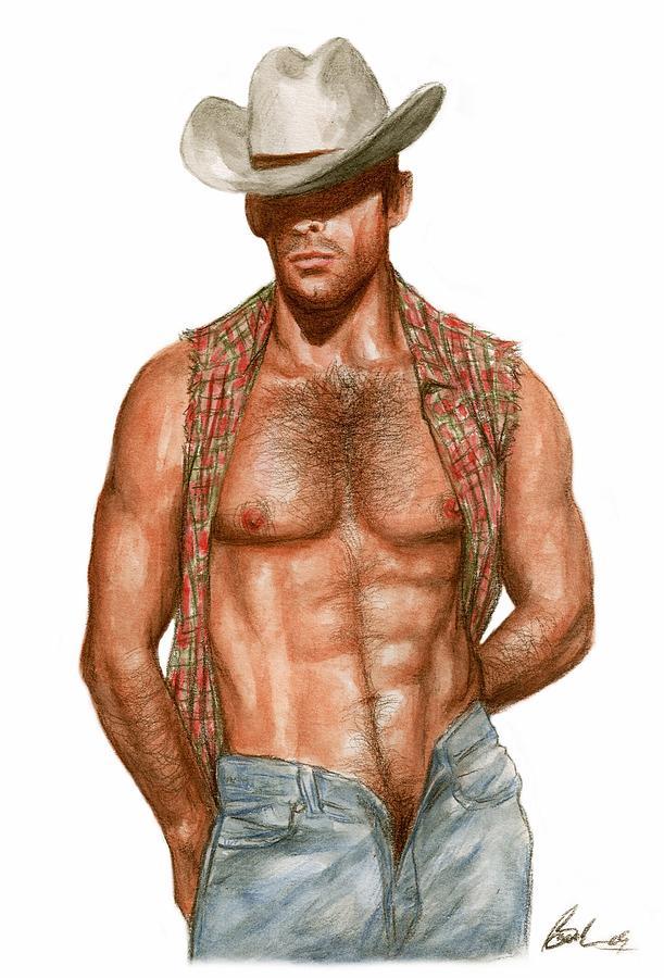 Cowboy Art Bruce Lennon Painting - Plaid by Bruce Lennon