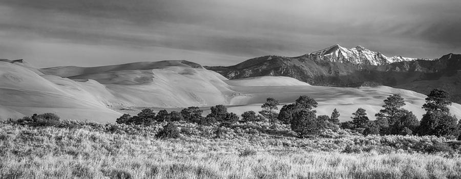 Plains - Dunes And Rocky Mountains Panorama Black White Photograph