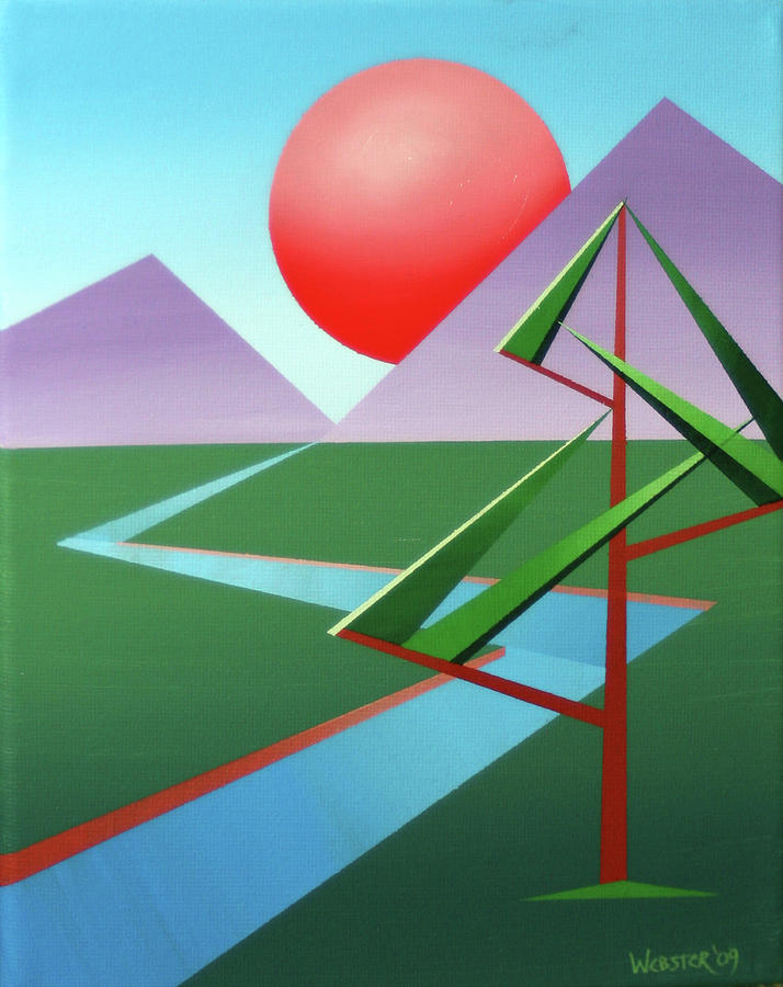 Daily Painters Painting - Planet X With Tree Abstract Landscape Painting by Mark Webster