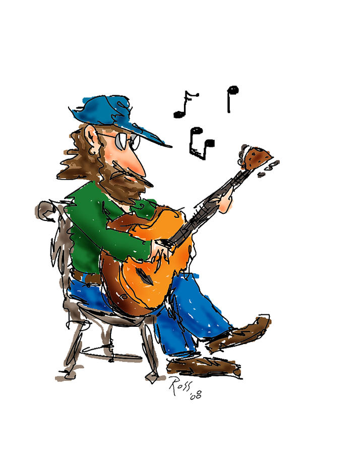 Guitars Drawing - Playing Fer Fun by Ross Powell