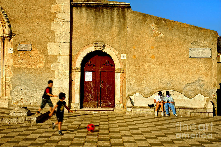 Antique Photograph - Playing In Taormina by Silvia Ganora