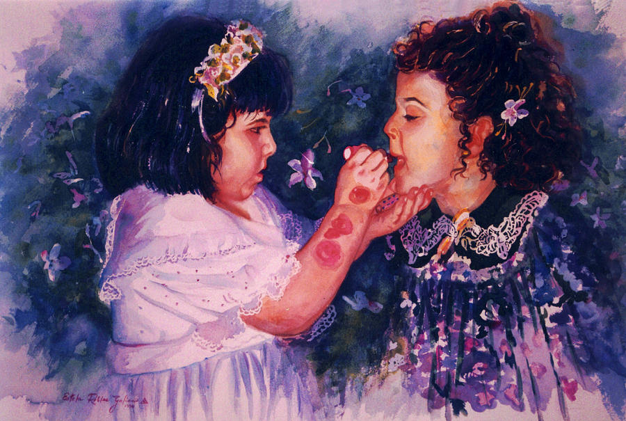 Watercolor Painting - Playing To Be A Woman by Estela Robles