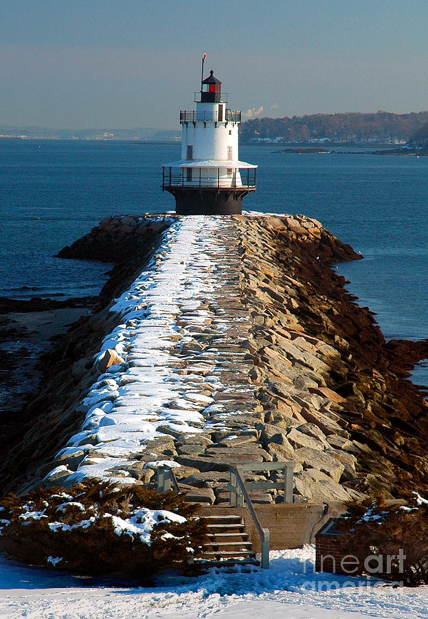 Point Spring Ledge Light - Lighthouse Seascape Landscape Rocky Coast Maine Photograph