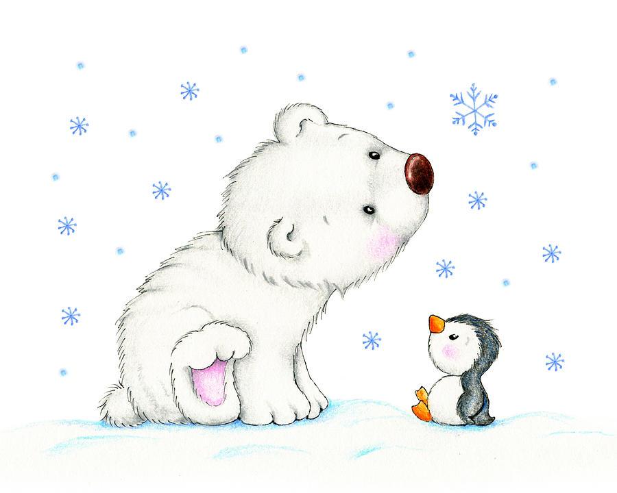 Polar Bear And Penguin Drawing By Tatiana Ciumac