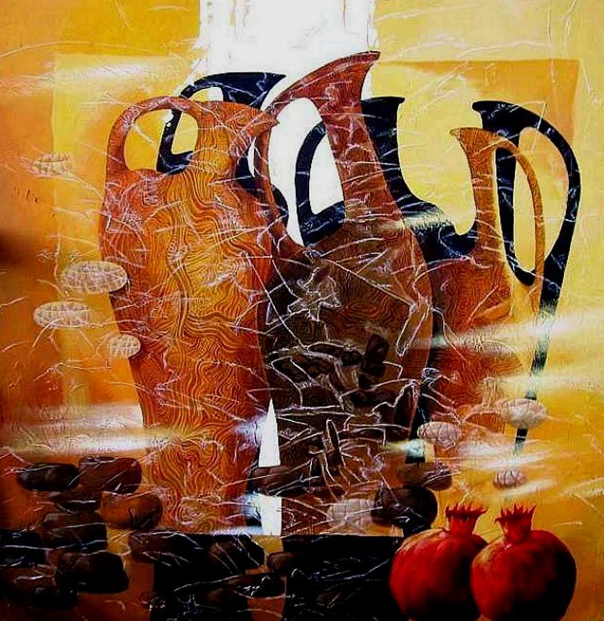 Vases Painting - Pomegranates by Yelena Revis