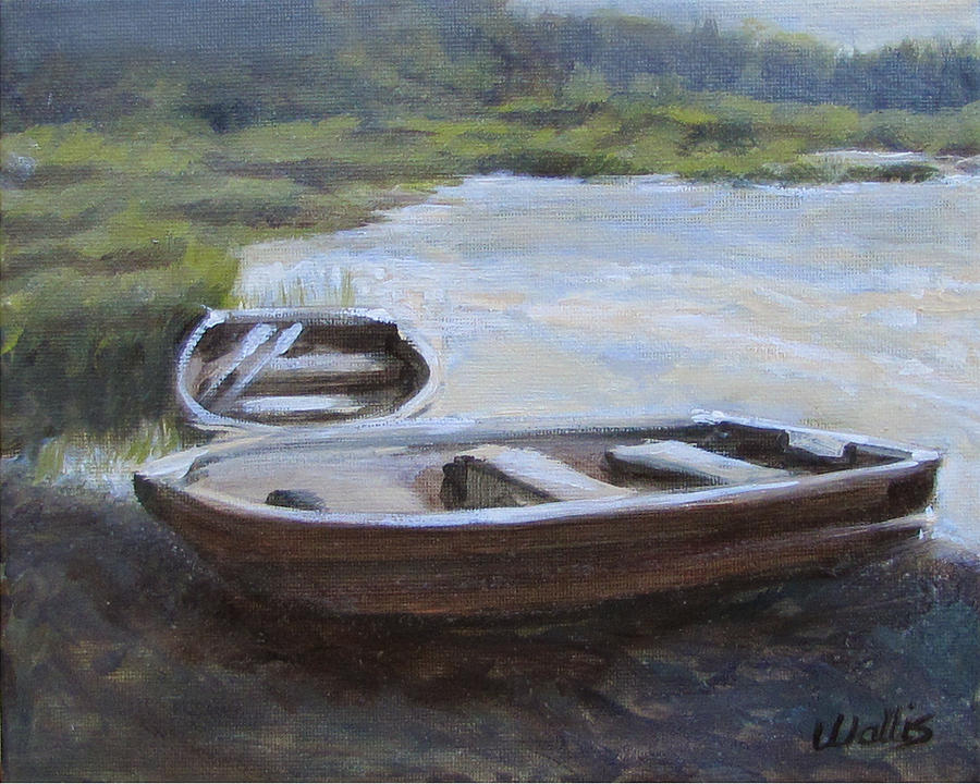Pond Painting - Pond With Row Boats by Charles Wallis