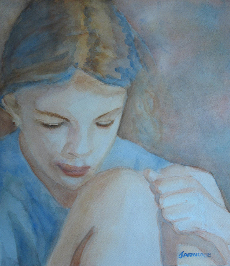 Girl Painting - Pondering by Jenny Armitage