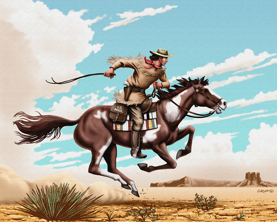 Pony Express Rider Painting - Pony Express Rider Historical Americana Painting Desert Scene by Walt Curlee