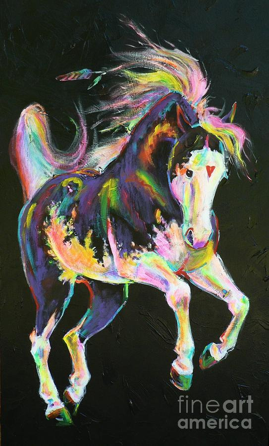 Paint Horse Painting - Pony Power I by Louise Green