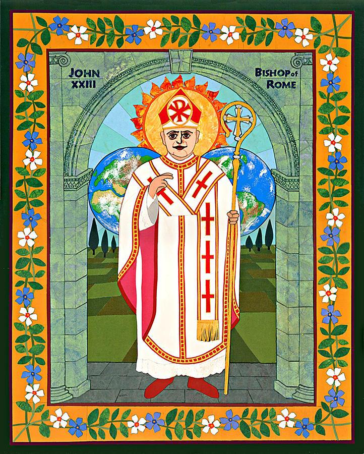 Icon Mixed Media - Pope John Xxiii Icon by David Raber
