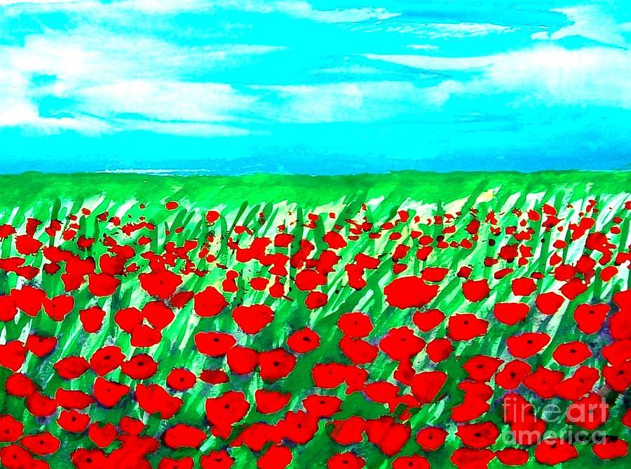 Painting Mixed Media - Poppy Field Abstract by Marsha Heiken