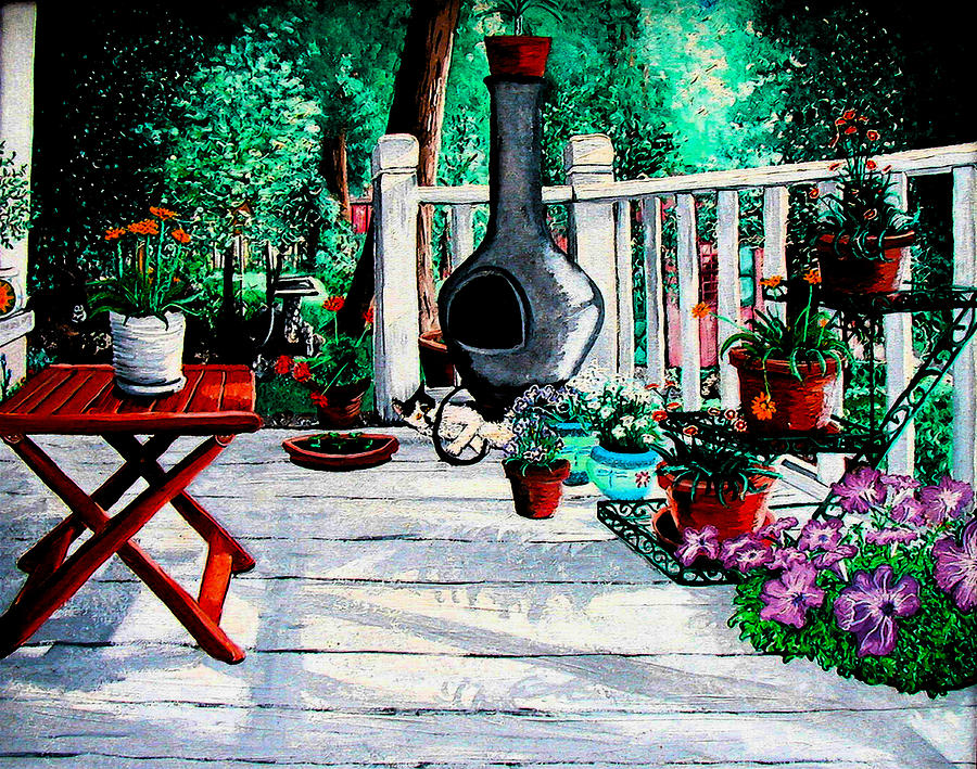 Oil Painting - Porch Cat Sleeps by Laura Brightwood