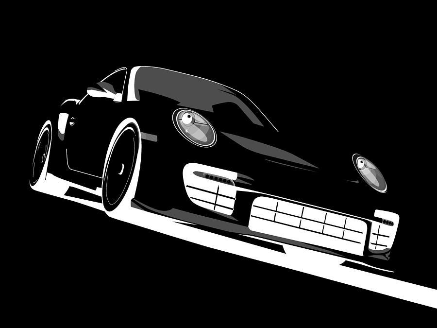 Porsche Digital Art - Porsche 911 Gt2 Night by Michael Tompsett