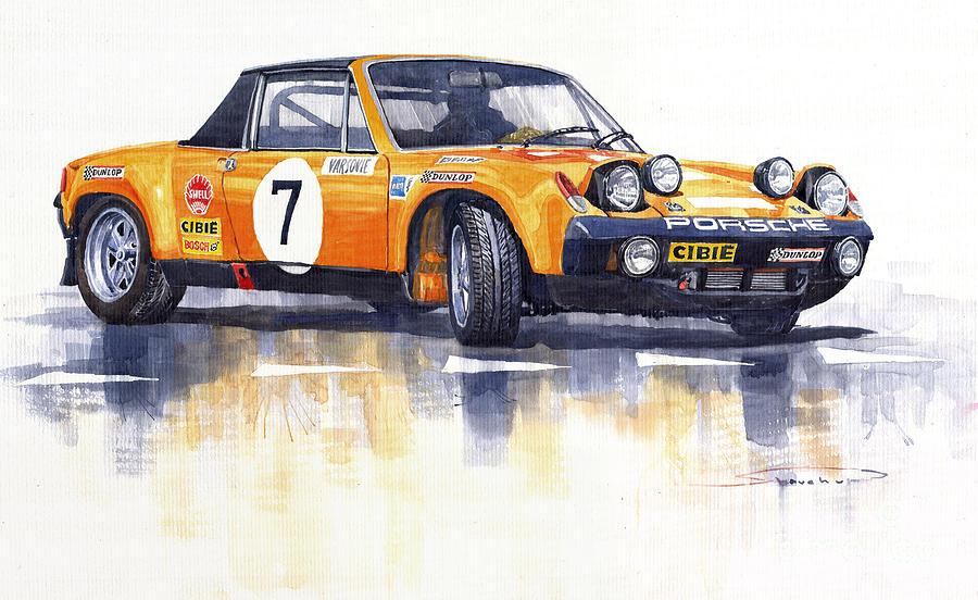 Watercolour Painting - Porsche 914-6 Gt Rally by Yuriy  Shevchuk