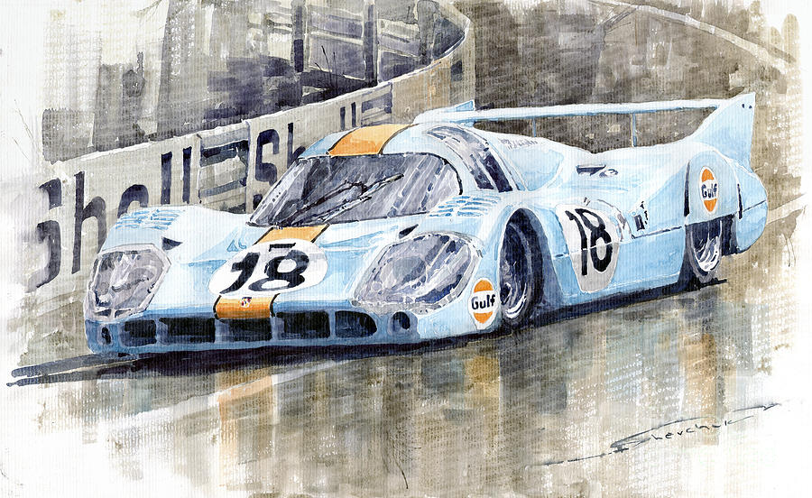 Watercolor Painting - Porsche 917 Lh 24 Le Mans 1971 Rodriguez Oliver by Yuriy  Shevchuk