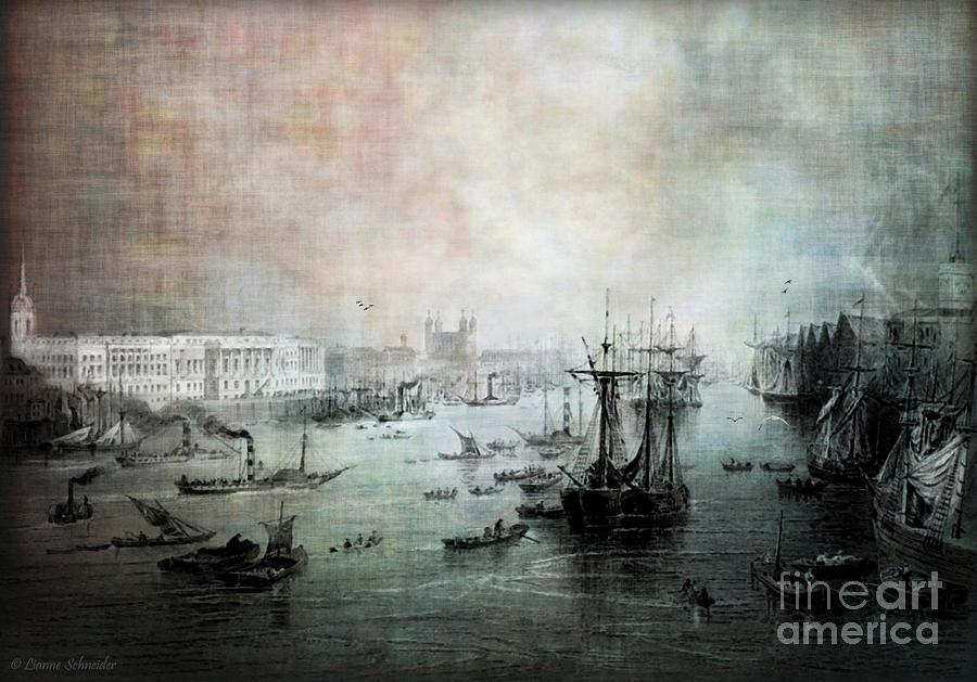 Port Of London - Circa 1840 Digital Art