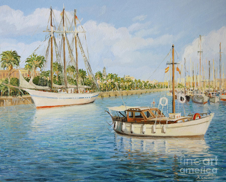 Art Painting - Port Vell In Barcelona by Kiril Stanchev