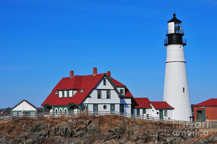 Maine Coat Coastal New England Lighthouse Light Beacon Nautical Shore Shoreline Waterfront Fort Williams Park Cape Elizabeth  Photograph - Portland Head Light by Catherine Reusch  Daley