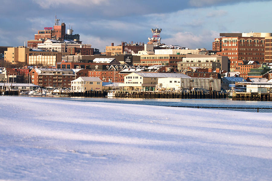 Portland Maine Winter Skyline Photograph by Eric Gendron