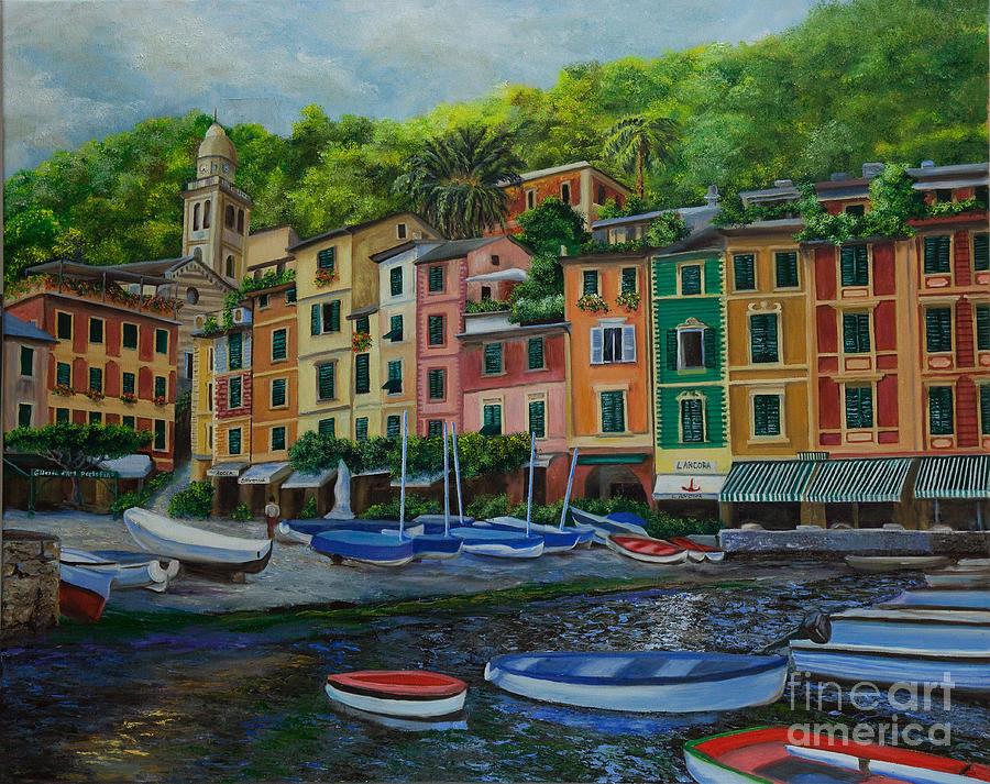Portofino Italy Art Painting - Portofino Harbor by Charlotte Blanchard