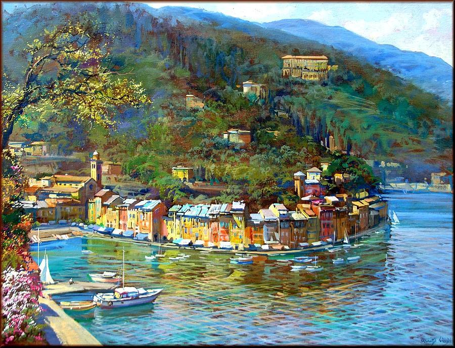 Quadri Painting - Portofino Italy by Landi
