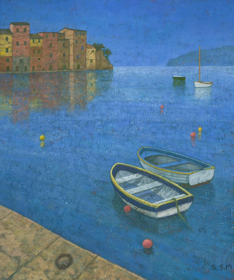 Harbour Painting - Portofino by Steve Mitchell
