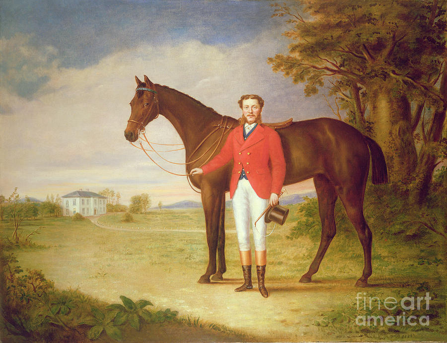 Portrait Painting - Portrait Of A Gentleman With His Horse by English School