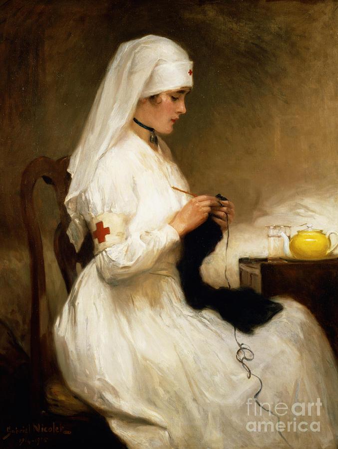 Portrait Painting - Portrait Of A Nurse From The Red Cross by Gabriel Emile Niscolet