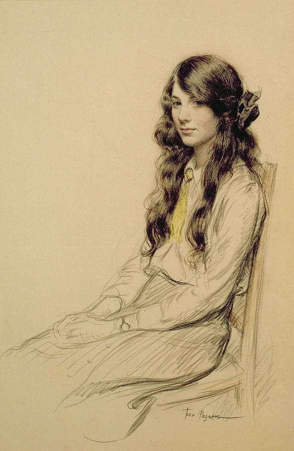 Portrait Drawing - Portrait Of A Young Girl by Frederick Pegram