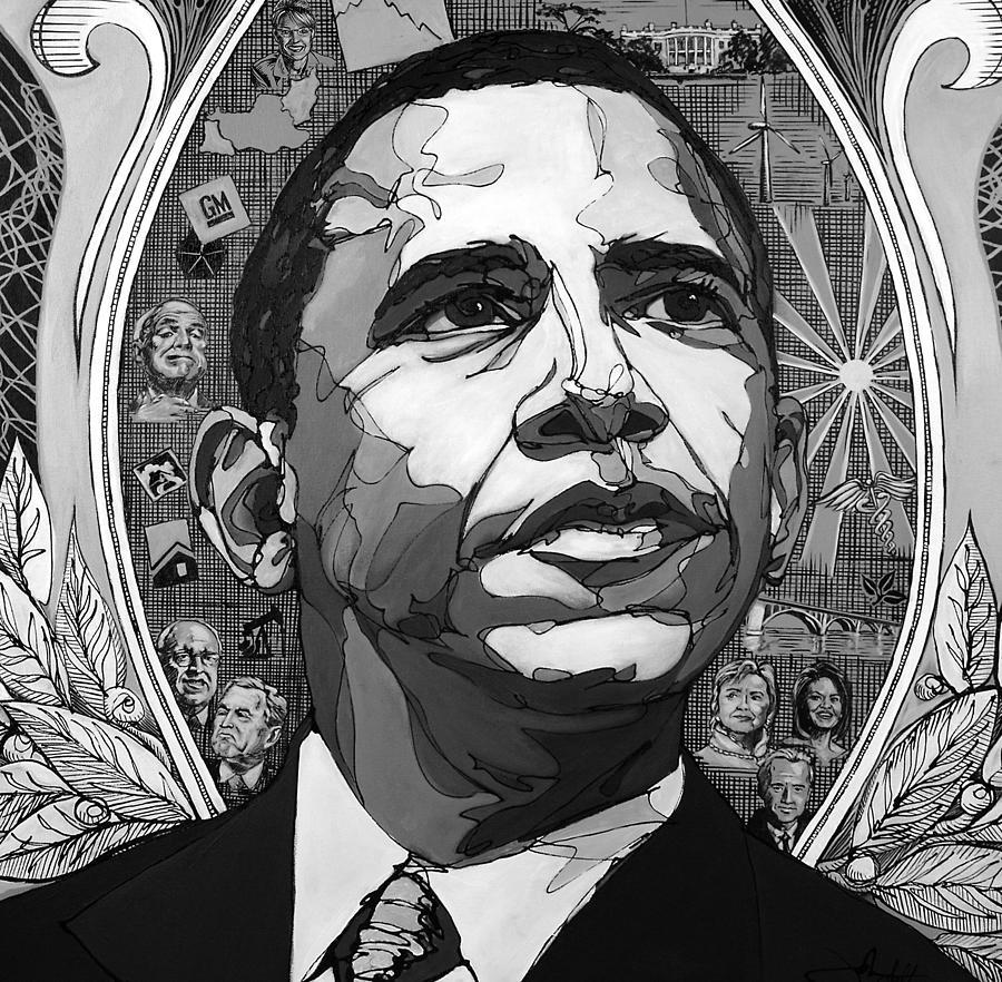 Barak Obama Painting - Portrait Of Barak Obama by John Gibbs