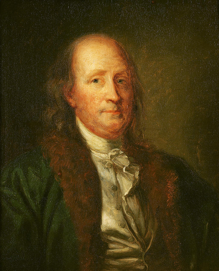 Portrait Of Benjamin Franklin (1706-90) (oil On Canvas) By George Peter Alexander Healy (1808-94) Painting - Portrait Of Benjamin Franklin by George Peter Alexander Healy