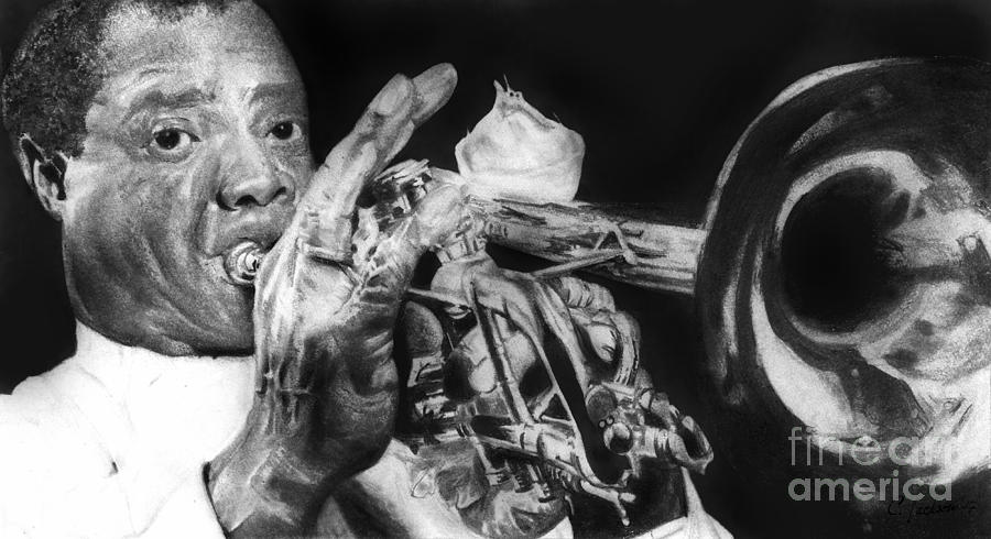 Jazz Portrait Drawing - Portrait Of Louie Armstrong by Carrie Jackson