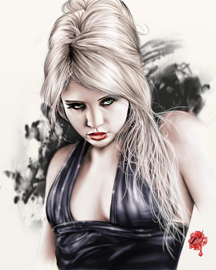 Pete Painting - Portrait Of Miss Mosh by Pete Tapang