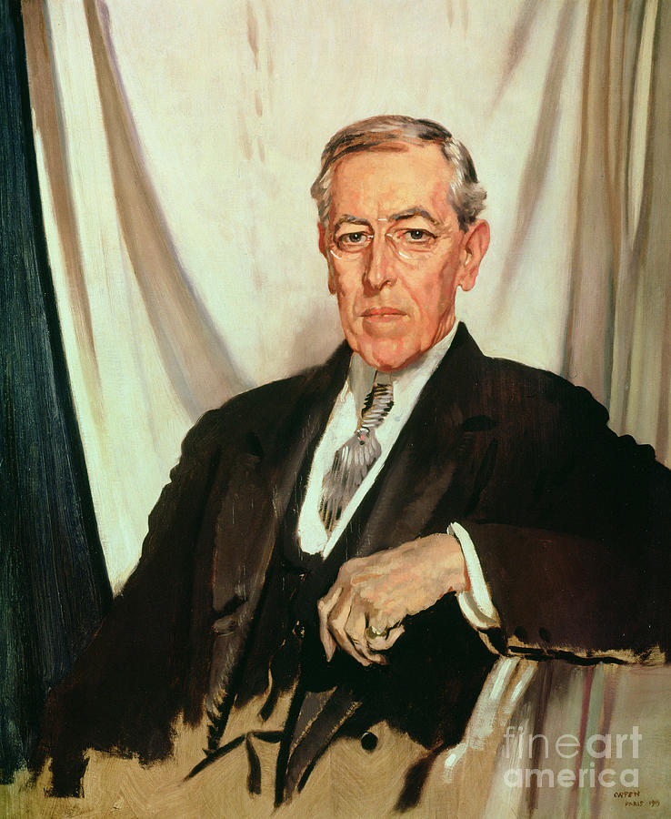 Portrait Of Woodrow Wilson (1856-1924) C.1919 (oil On Canvas) By Sir William Orpen (1878-1931) Painting - Portrait Of Woodrow Wilson by Sir William Orpen