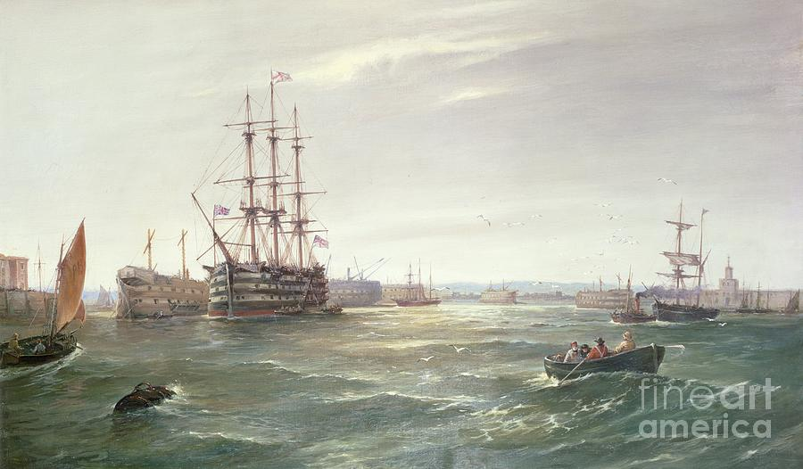 Portsmouth Painting - Portsmouth Harbour With Hms Victory by Robert Ernest Roe