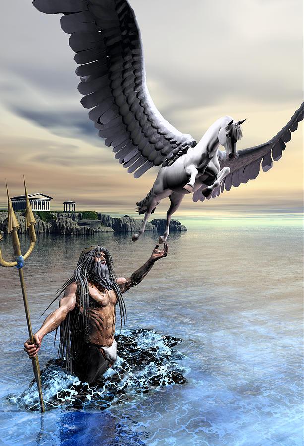 Poseidon And Pegasus Digital Art by Joseph Soiza