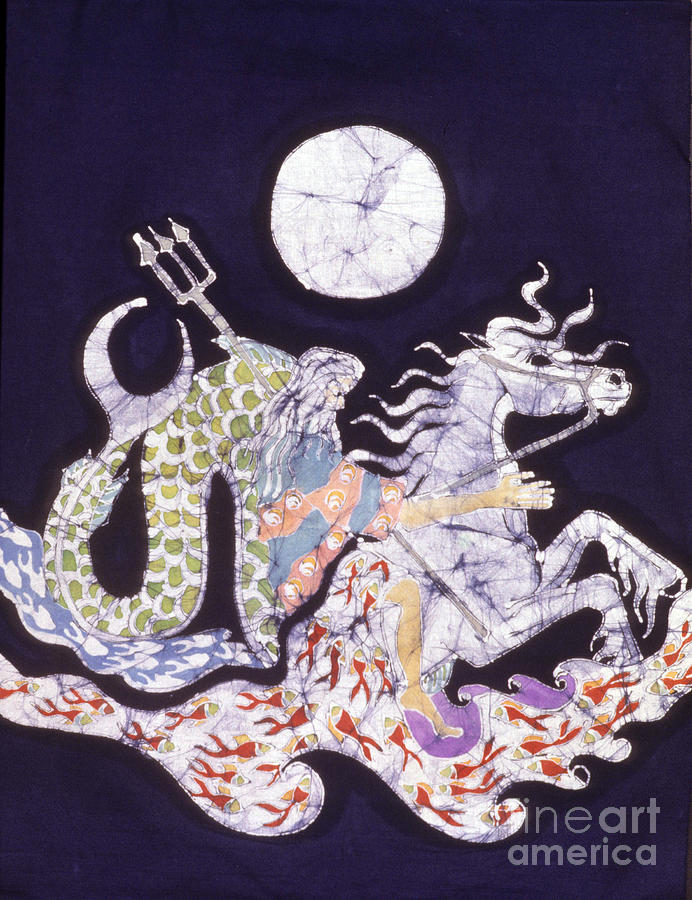 Horse Tapestry - Textile - Poseidon Rides The Sea On A Moonlight Night by Carol  Law Conklin