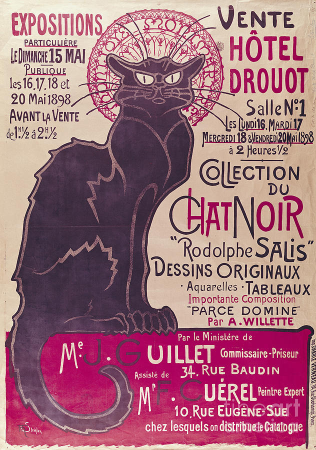 Poster Painting - Poster Advertising An Exhibition Of The Collection Du Chat Noir Cabaret by Theophile Alexandre Steinlen